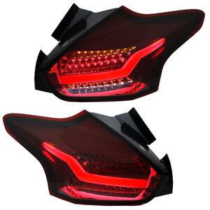 LED-Lightbar-Rueckleuchten-Ford-Focus-MK3-Facelift-DYB-Bj-2014-Rot-Smoke