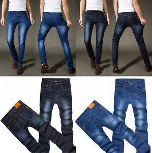 Men-039-s-Casual-Jeans-Denim-Pants-Mid-Waist-Slim-Fit-Straight-Leg-Trousers-Stretch