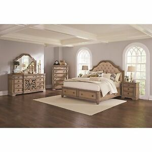 4 PC ANTIQUE LINEN TUFTED HEADBOARD QUEEN STORAGE BED BEDROOM ...