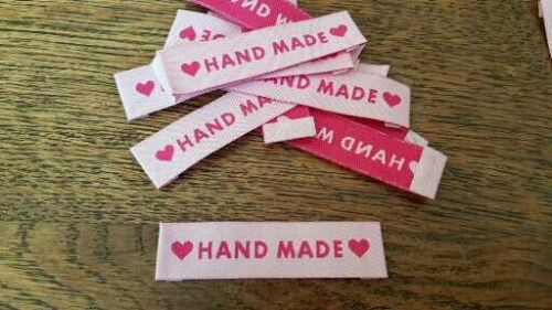 25 HANDMADE motif pink woven fabric labels for clothing knitting sewing UK D1