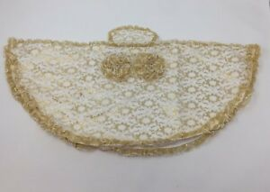 VINTAGE-DESIGN-EMBROIDERED-INFANT-DRESS-of-PRAGUE-STATUE-GOLD-LAME-ON-WHITE