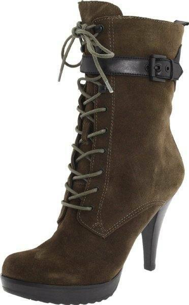 New in Box Guess Jirina Mi Dentelle Bottes Chaussures en daim talons escarpins marron
