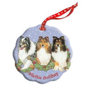 Shetland Sheepdog Sheltie Dog Holiday Porcelain Christmas ...