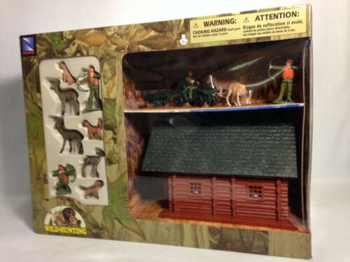 Wild Bow Deer Hunting Playset, Cabin, ATV w/Trailer, Deer, Dogs, New Ray Toys GR