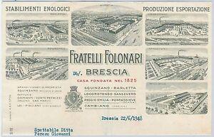 FATTURA d'epoca AZIENDA VINI - Fratelli Folonari BRESCIA 1948 -- BELLISSIMA!