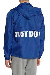 Details about Nike Mens XL Woven Windbreaker Logo Jacket Just Do It Blue Zip Front Coat