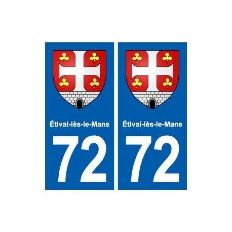 72 Étival-lès-le-Mans  blason autocollant plaque stickers ville arrondis