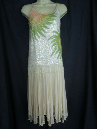 20s Style Sequins Fringe Beads Floral Splash Chiff
