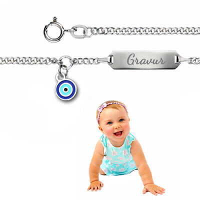 Kinderarmband,Babyarmband,Namensarmband mit türkischem Auge-Silber 925-/&Gravur