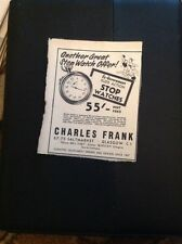 L1-6 Advert 1959 Charles Frank Stop Watch Saltmarket Glasgow
