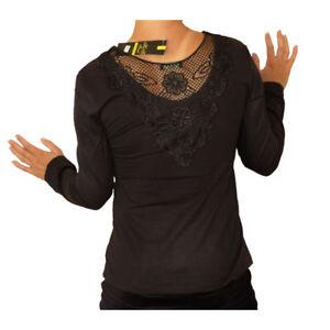 Sebix-Sexy-White-Black-Gothic-Long-Sleeve-Cotton-Crochet-Back-Top-8-10-12-UK
