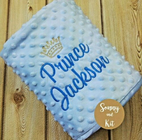 Personalised Baby Boy Prince Blanket Embroidered New Born Blue Gift Gold