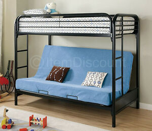 Black Twin Over Full Futon Bunk Bed Rail Metal Frame Dorm