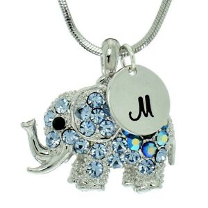 05a4b4365 Image is loading Elephant-Blue-Custom-Letter-Charm-Necklace-Made-With-