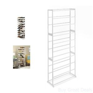 Image Is Loading 30 Pair White Standing Floor Shoe Storage Tower