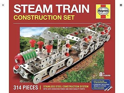 Meccano Style HAYNES STEAM TRAIN CONSTRUCTION SET 314 PIECES STAINLESS STEEL