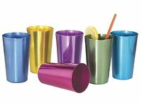 6 Anodized Aluminum Drinking Tumblers 16 Oz Vintage Retro Glasses Water Cup Set