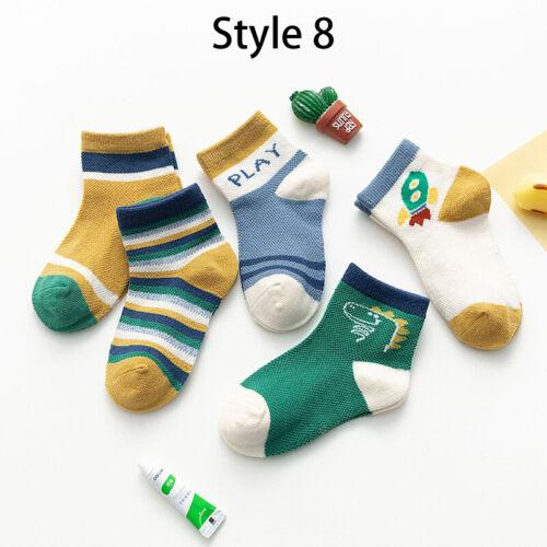 5 Pairs Baby Boy Girl Kids Socks Cartoon Socks Cotton for 1-12 Yrs Socks Toddler