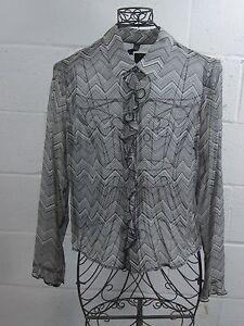 NWT-Laundry-Shelli-Segal-Black-Chevron-Sheer-Silk-Ruffle-Top-Shirt-Blouse-12