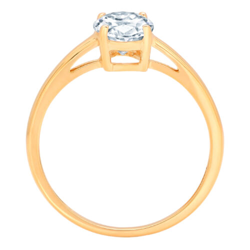 Details about  /1ct Oval Cut Blue Stone Wedding Bridal Promise Designer Ring 14k Yellow Gold