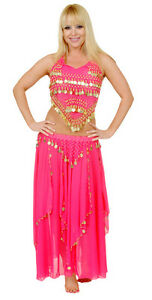 Women-2-PC-BELLY-DANCE-Halter-Top-amp-Long-Multi-Layer-Skirt-Silver-or-Gold-Coin
