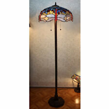 Blue & Red Dragonfly Art Deco Tiffany Style Stained Glass Standard Floor Lamp