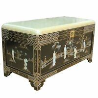Black Lacquered With Mother Of Pearl Bench Seat Storage Chest Oriental Furniture