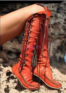 Chaussures-femme-en-cuir-a-lacets-au-dessus-du-genou-bottes-hautes-vintage-Roma-Mocassins-Fashion