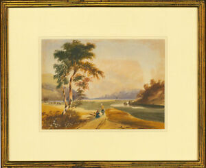 Framed-19th-Century-Watercolour-Valley-View-with-Figures