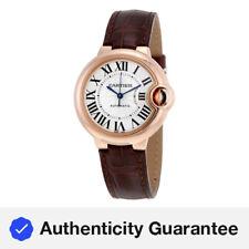 Cartier Balloon Bleu Silvered 18kt Pink Gold Opaline Flinque Dial Ladies Watch