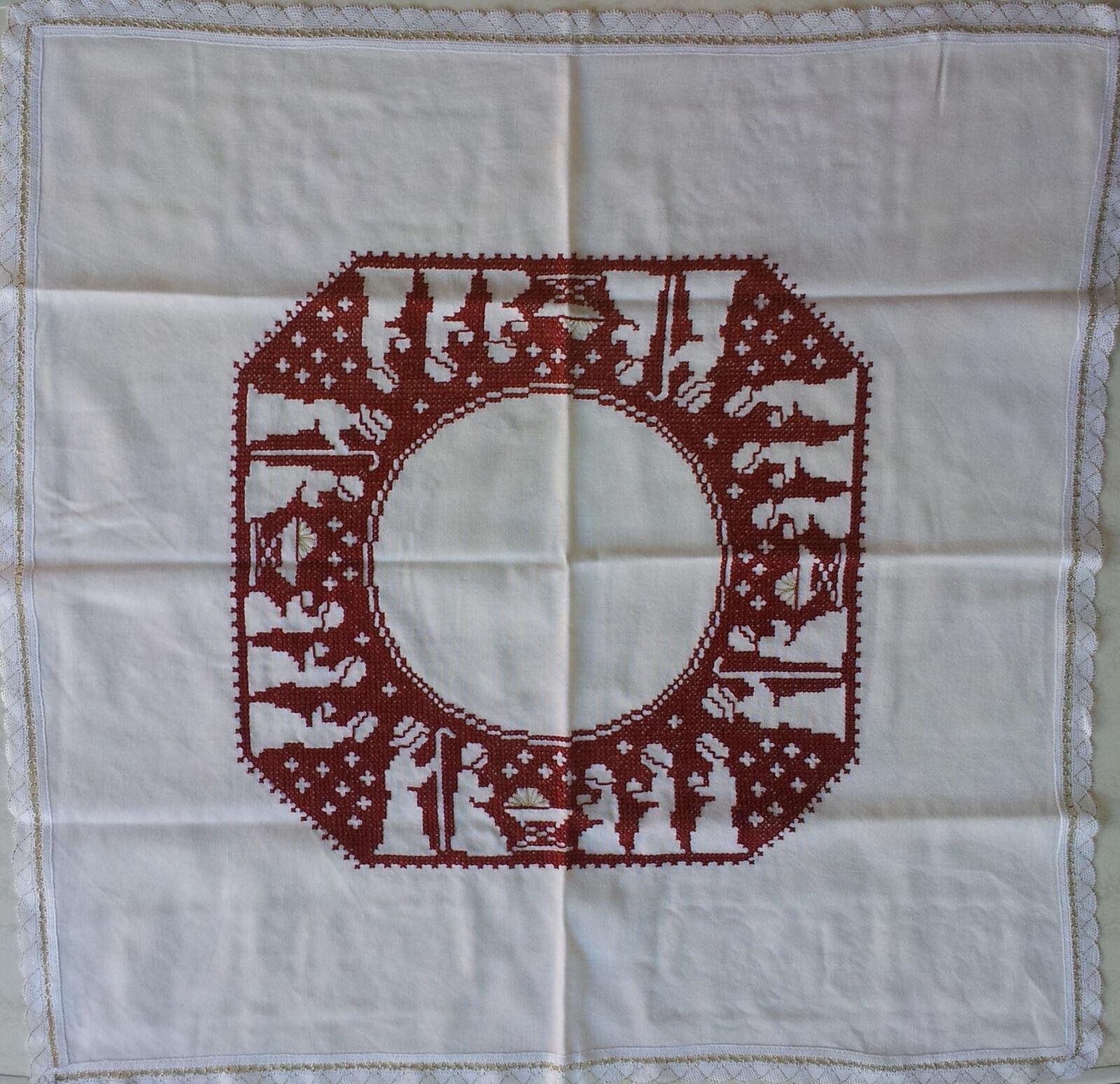 Decke Tischdecke Mitteldecke Kreuzstich Handarbeit Weihnachten Hirten Krippe