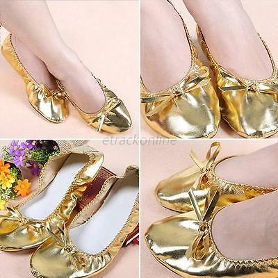 7Sizes Women's Girl's Gold Elastic Slipper Ballet Flats Dancing Gymnastics Shoes