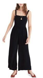 ddf5db7f8840 NWT Madewell Smocked Top Black Jumpsuit-Retail  138 (Runs Big) Size ...