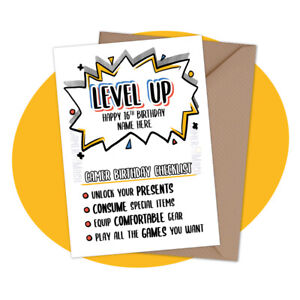 PERSONALISED BIRTHDAY CARD - Level Up Checklist - personalized gamer console rpg
