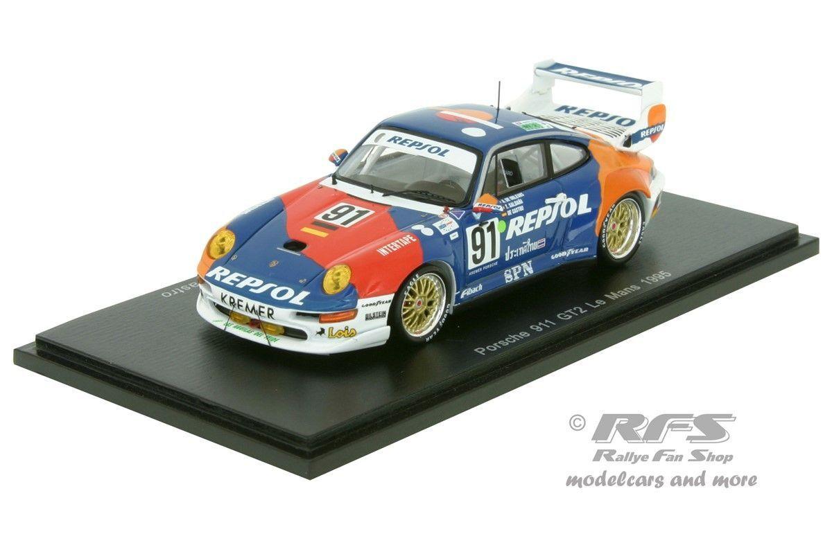 Porsche 911 gt2 Repsol  Racing 24 H Le Mans 1995 1 43 Spark 5512 NOUVEAU & NEUF dans sa boîte  confortablement