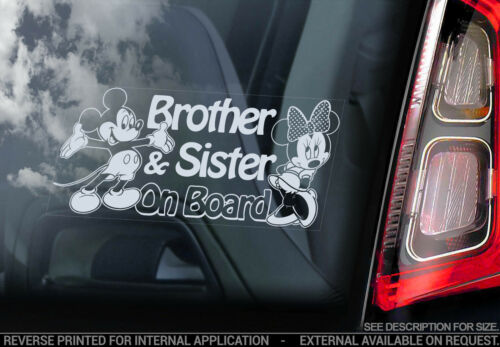 Brother /& Sister on Board Mickey Minnie Mouse Decal Car Window Sticker V02