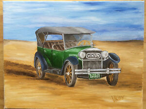 American-Antique-Car-Winton-Original-Oil-Painting-on-Canvas-11x14