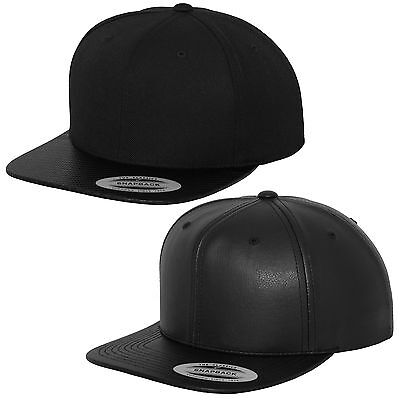 Flexfit Carbon /& Full Leather Imitation Snapback Cap Classic Yupoong Cap Hat
