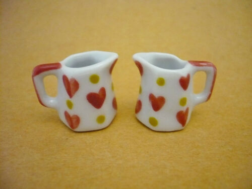 2 Mini Hand Painted Heart Water Jug Dollhouse Miniatures Ceramic Kitchenware