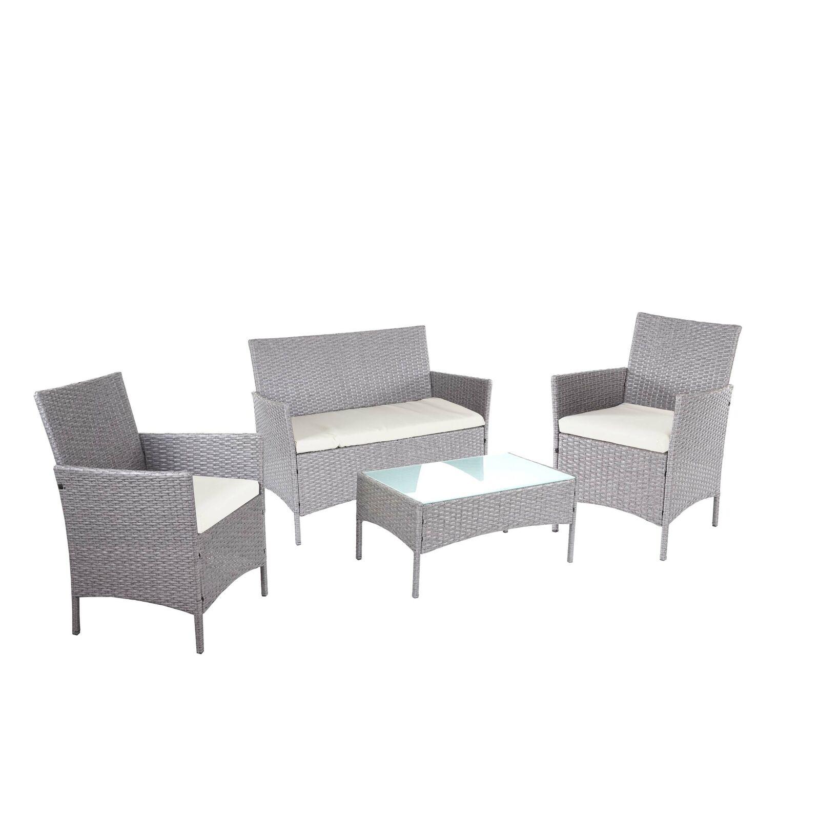 2-1-1 Poly-Rattan Garten-Garnitur Halden, Sitzgruppe, grau, Kissen creme
