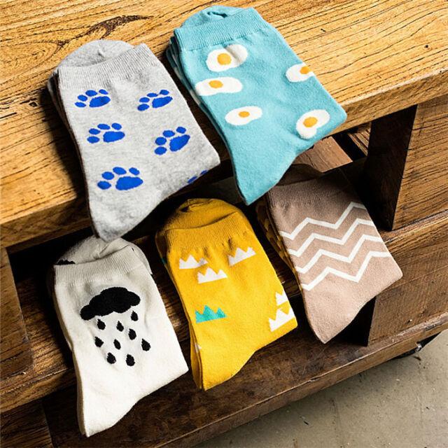 Women Girl Cute Cartoon Footprint Poached Egg Cotton Mid-calf Socks Ankle Socks
