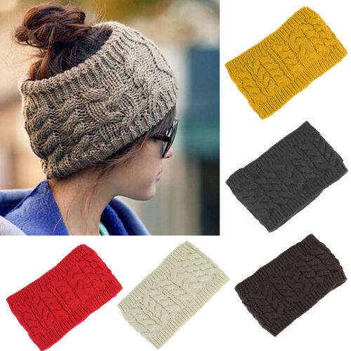 Damen Winter Gestrickt Geflochten Stirnband Kopfverpackung Haarband Ohr Warm