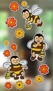 fensterbild selbstklebend bienen bl ten fensterdeko wanddeko kinderzimmer abl sb ebay. Black Bedroom Furniture Sets. Home Design Ideas
