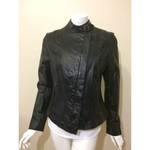 NWT Andrew Marc genuine black leather jacket strap collar sz M