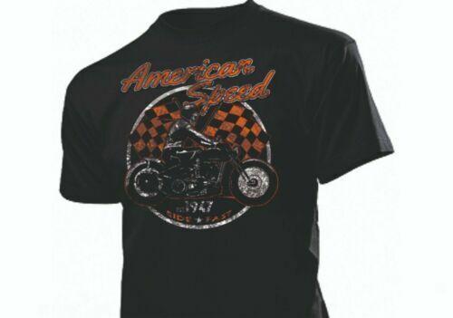 T-Shirt American Speed Skeleton Biker USA V8 V6 Chopper Wla Wl Knuckle Flathead