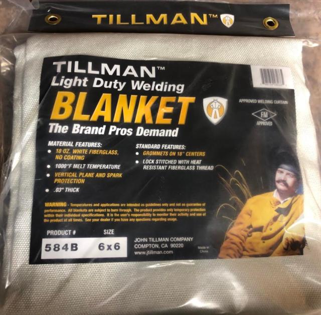 Tillman 6x6 584B 18 oz White Fiberglass Non-Coated Welding Blanket