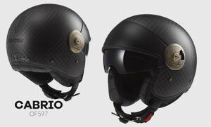 Motorradhelm-LS2-Jethelm-schwarz-Retrolook-OF597-Cabrio-matt-carbon-Gr-L-NEU