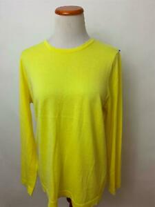J-McLaughlin-yellow-scallopped-edge-Cotton-Cashmere-Crew-neck-Sweater-L