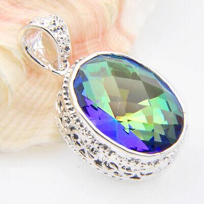 Vintage Silver Huge Teardrop Rainbow Mystic Topaz Gems Silver Necklace Pendants