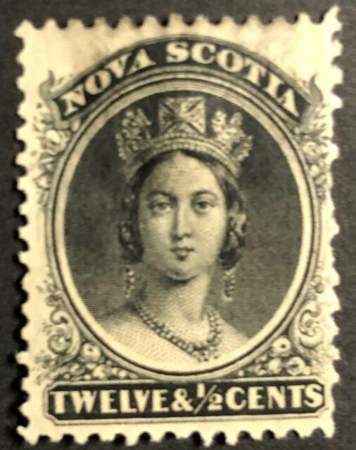 NOVA SCOTIA 1860-1863 # 13 QUEEN VICTORIA - 12 1/2 d - BLACK - MINT NO GUM